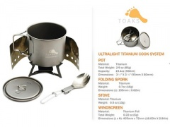 Ultralite Solid Fuel Ti Cook System